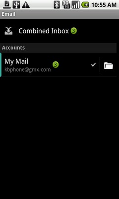 Touch and hold the desired email account