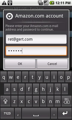 Enter the Amazon.com account email address and password in the appropriate fields then touch OK