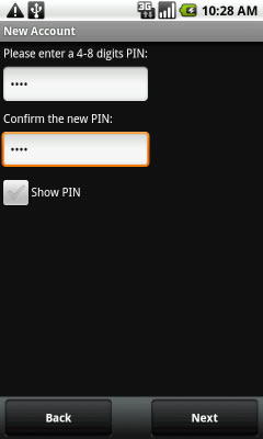 Enter a 4-8 digit PIN, re-enter the PIN then touch Next