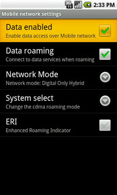 Mobile network settings with Data enabled