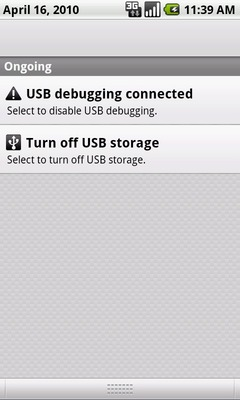 From the window shade, touch Turn off USB storage