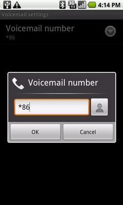 Touch the Voicemail number field