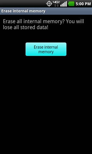 Erase internal memory with Erase internal memory