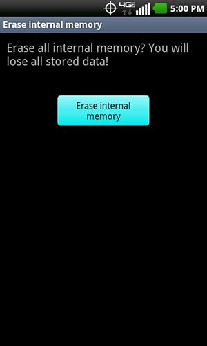 Erase internal memory