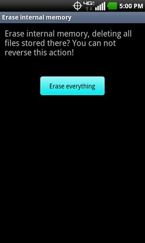 Erase internal memory con Erase everything