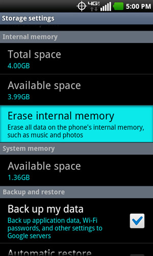 Storage settings con Erase internal memory