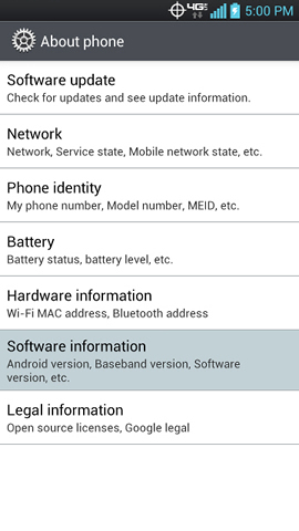 Software information en About phone