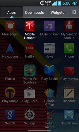 Menú App con opción Mobile Hotspot