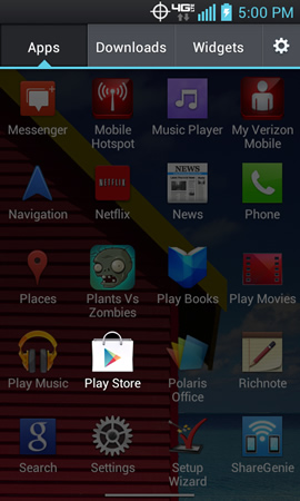 Applications menu with Play Store