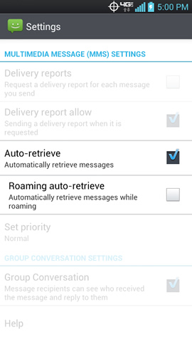 MULTIMEDIA (MMS) MESSAGES section with Auto-retrieve options