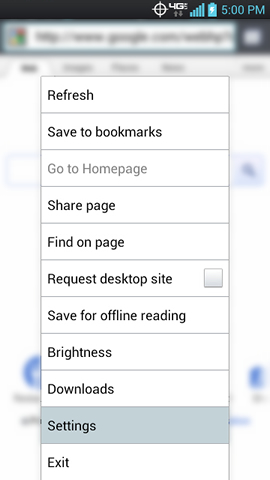 Browser menu with Settings