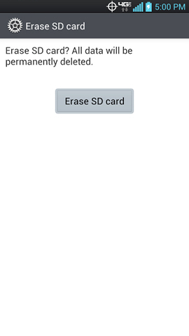 Erase SD card screen with Erase SD card