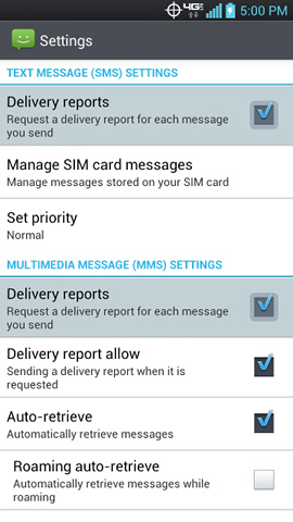 SMS / MMS settings with Delivery reports
