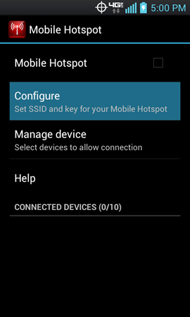 Mobile Hotspot with Configure