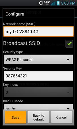 Configure mobile hotspot con Save