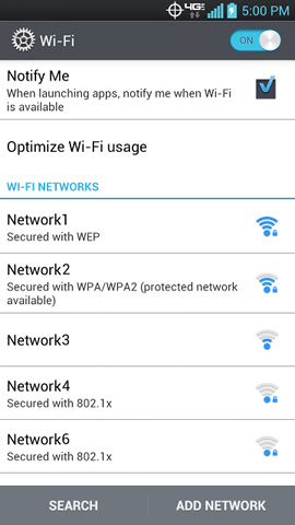 Wi-Fi networks list