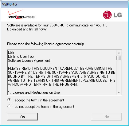 License Agreement with I agree and Yes