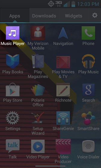 Apps Screen select Music Player