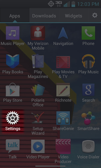Apps Screen select Settings
