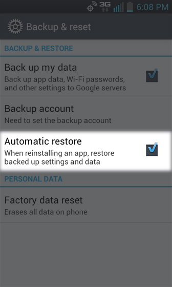 Settings select Automatic restore