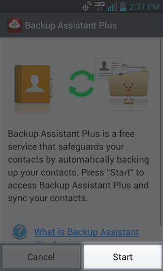 Backup Assistant Plus select Start