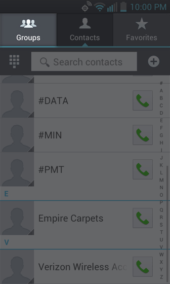 Contacts Screen select Groups
