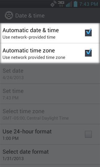 Date & time select automatic date & time and time zone
