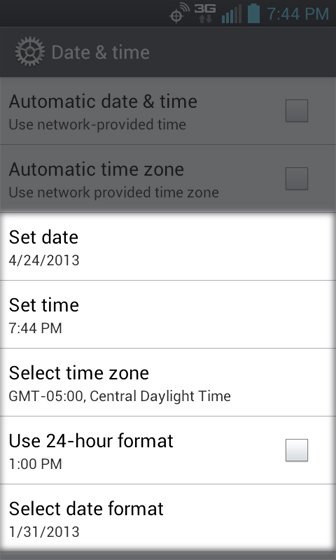 Date & time select each field manually to adjust the date & time