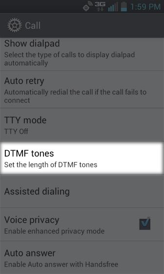 Call Settings, seleccionar DTMF Tones