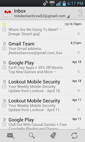 Gmail Inbox select a message