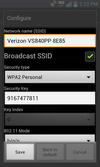 En Configure mobile hotspot, selecciona Save