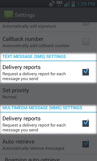 SMS / MMS settings, selecciona Delivery reports