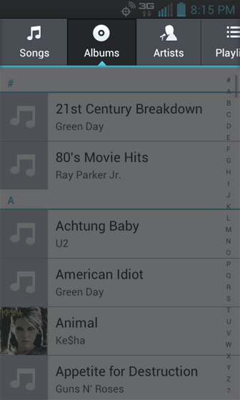 Music Player select from the tabs at top