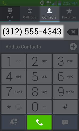 Phone 3 Way Call selecciona teclado o Contacts para agregar un número