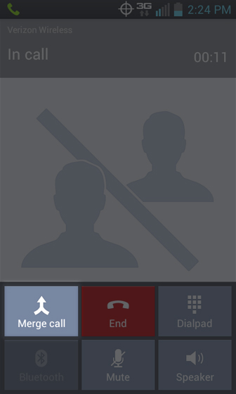 Phone 3 Way Call select Merge call