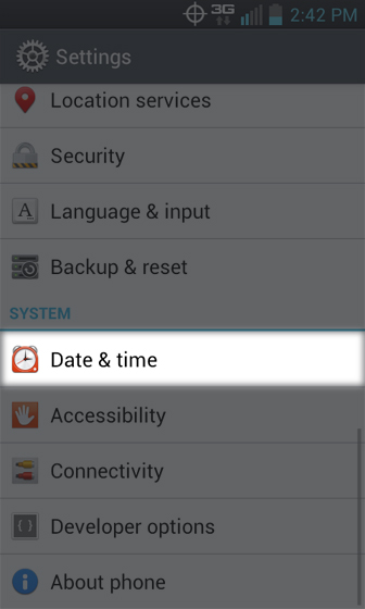 Settings select Date & time