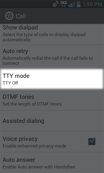 Call settings select TTY mode