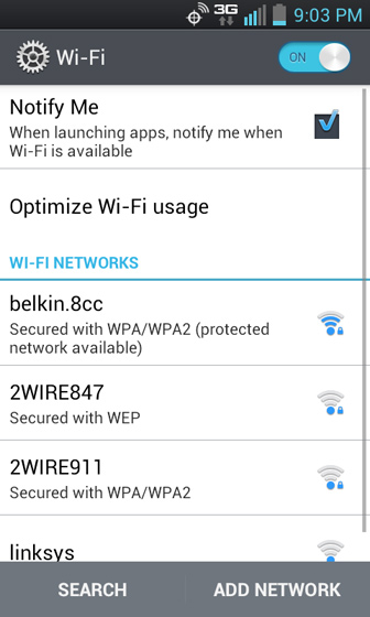 Wi-Fi networks list select a network