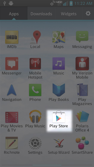 Apps Screen select Play Store