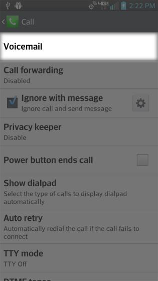 Configuraciones de llamadas, selecciona mensaje de voz
