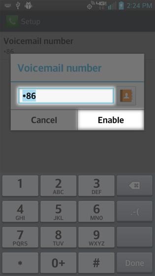 Configuración de Call, edición del número de Voicemail y selección de Enable