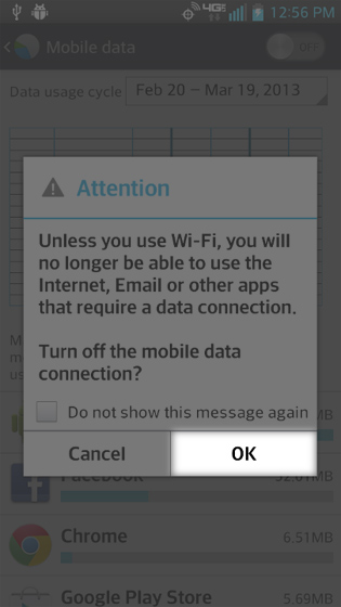Disable mobile data prompt select OK