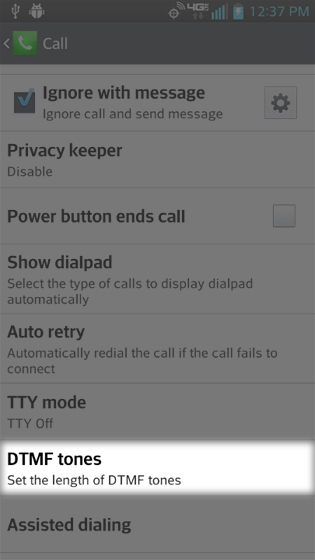 Call settings select DTMF tones