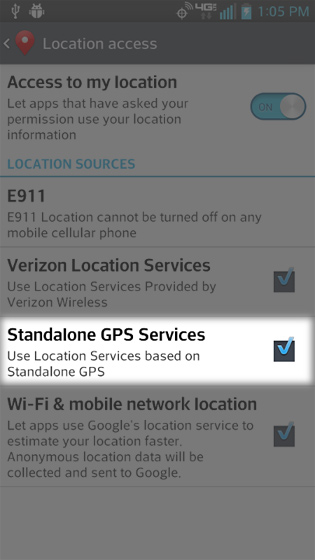 En Location services, selecciona Standalone GPS Services