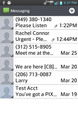 Messaging Inbox, selecciona un mensaje