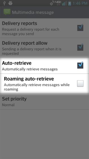 Settings seleccionado en el menú Message, opciones de Auto-retrieve