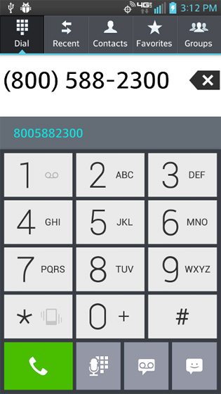 Phone select Phone key to display last number