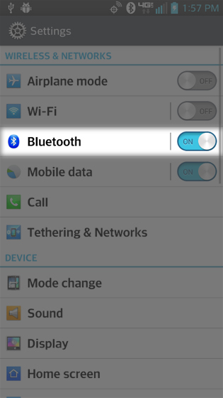 Settings select Bluetooth ON / OFF switch