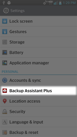 Settings select Backup Assistant Plus