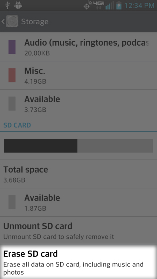 Storage select Erase SD card